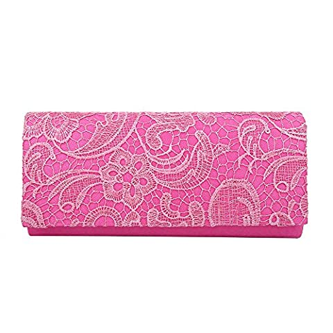 HotStyleZone LADIES MULTICOLOUR SATIN LACE FLORAL PROM WEDDING EVENING BAG CLUTCH BAG HANDBAG (Fuschia)