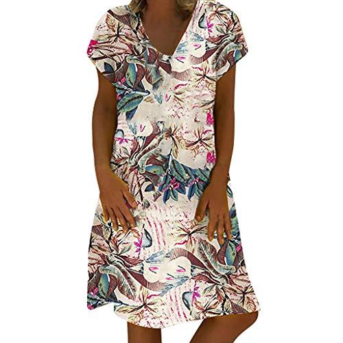 Crylee Großes Damen Frauen Floral Cotton Dress Mit Tasche Damen Kurzarm Abendkleid Partykleid Minikleid Herbst Explosion -