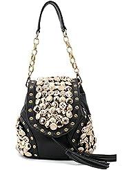frixie (TM) nuevo bolso coreano Fashion botones Diamond Retro Pluma Bolsa Borla Bolsa Diagonal