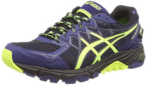 ASICS Gel-Fujitrabuco 4 G-Tx - Zapatillas de correr en montaña para hombre, color negro (black/flash yellow/indigo blue 9007), talla 41.5