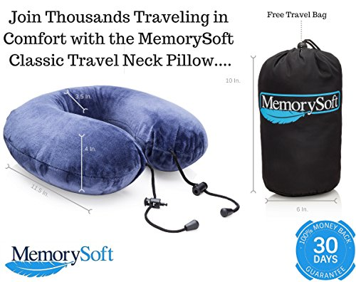 Premium Memory Foam Travel Pillow by MemorySoft – Lite Version – Soft Memory Foam Neck Pillow Includes Handy Travel Bag