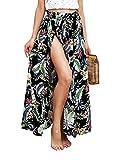 Terryfy Damen Lang Rock Elegant High Waist Blumen Röcke Maxi Skirt mit Schlitz