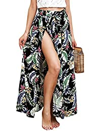 6ec64d9ef27f Terryfy Damen Lang Rock Sommer Elegant High Waist Blumen Boho Asymmetrisch  Rock Strandrock Maxi Skirt