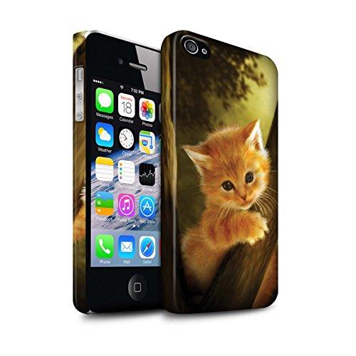 Officiel Elena Dudina Coque / Clipser Matte Etui pour Apple iPhone 4/4S / Petit Panda/Bambou Design / Les Animaux Collection Le Brave/Chaton
