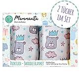 Baby Pucktuch 2er Set - Swaddle Blanket aus 100% Baumwolle - leichte & weiche Puckdecke - ideal als Babydecke, Stilltuch, Spucktuch - 2 Stück (120x120 cm + 75x75 cm) (Bär)