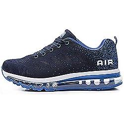 Zapatillas de Deportes Hombre Mujer Zapatos Deportivos Aire Libre para Correr Calzado Sneakers Gimnasio Casual(833-BL39)