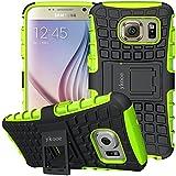 Galaxy S6 Hülle, S6 Hülle ykooe (TPU Series) Dual Layer Hybrid Handyhülle Drop Resistance Handys Schutz Hülle mit Ständer für Samsung Galaxy S6 (Grün)