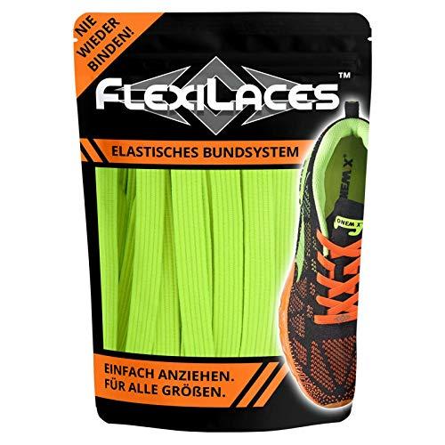 FLEXILACES - elastische Schnürsenkel | nie Wieder Schuhbänder binden - NEON-GELB Gummi Neon