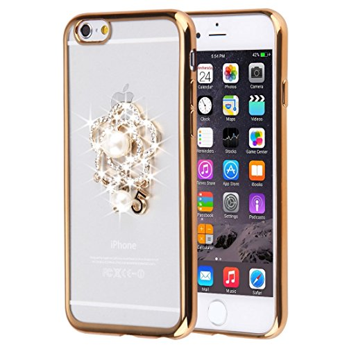 Pour iPhone 6 / 6s, Diamond Encrusted Dancing Girl et Take Flower Pattern Soft TPU Case JING ( SKU : IP6G0166G ) IP6G0166B