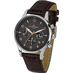 Jacques Lemans London 1-1654°F-Watch Men-Quartz-Chronograph-Black Dial-Brown Leather Bracelet