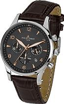 Jacques Lemans Herren-Armbanduhr XL London Chronograph Quarz Leder 1-1654F