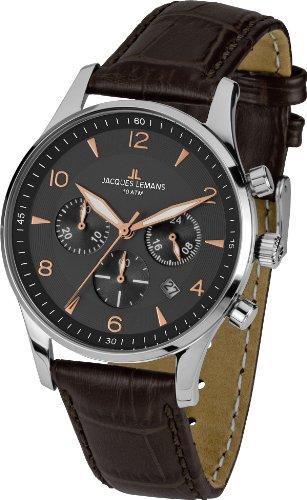 Jacques Lemans Herren-Armbanduhr XL london classic Chronograph Quarz Leder 1-1654F