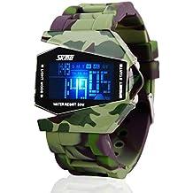 Highdas Hombres Watch Camuflaje Invisible Militar De Aviones LED Multi-Functio Camuflaje verde del ejército