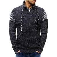 VRTUR Herren Winter Sweatshirt Spleißen Beiläufig Loch Elastisch Oben Bluse Gestrickt Pullover Top Bluse Strickpullover