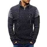 Pullover Herren,SANFASHION Männer Langarm Winter Spleißen Casual Sweatshirt Elastische Top Bluse Gestrickte