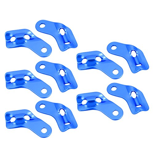 sourcing map Alliage Aluminium en L - régulation Boucle Corde Tente Réglage Cordon Bleu 10pcs