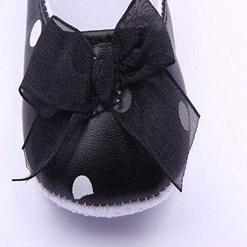 Auxma Neugeborene Schuhe,Baby Bowknot weiche erste Wanderer,Anti-springen Klettfutter Prinzessin Schuhe Für 3-12 Monate (3-6 M, Rosa) Schwarz