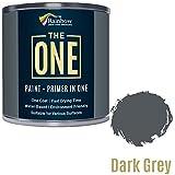 One Farbe, One Coat, Multi Surface Paint für Holz, Metall, Kunststoff, Innen, Außen, dunkel grau, glänzend, 1Liter