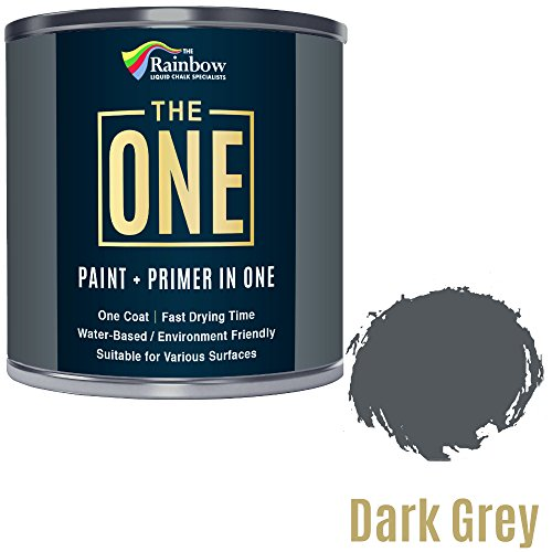 Bote de pintura monocapa The One, pintura multisuperficies para madera, metal, plástico, para interiores y exteriores, de color gris oscuro, mate, 250 ml