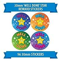 """96 30mm """"WELL DONE"""" reward stickers labels children stars"""