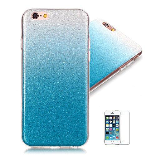 Für iPhone 6S Plus Handyhülle,für iPhone 6 Plus Hülle,Zcro Glitzer Silikon Glitter Case Stoßfest Kratzfeste TPU Schutzhülle Schale Handytasche Hülle für iPhone 6 Plus,für iPhone 6S Plus 5.5 Zoll mit Frei Displayschutz (Blau)