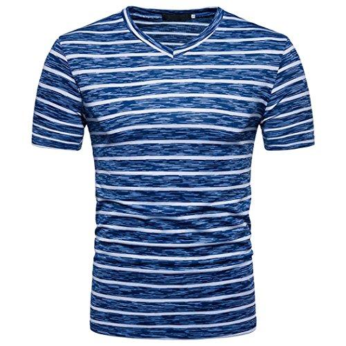 Sommer T-Shirt Forh Herren Casual V-Ausschnitt Pullover T-Shirt Top Elegant Streifen Kurzarm Bluse Mode Weich Kurzarm Sommerbluse Lose Sommerhemd Oberteil (Blau, S) (Schuhe Hund T-shirt)