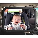 SUNLUXY Rücksitzspiegel für Babys Autospiegel Sicherheitsspiegel mit 2 Befestigungsvarianten für Kindersitz & Babyschale drehbar und bruchsicher