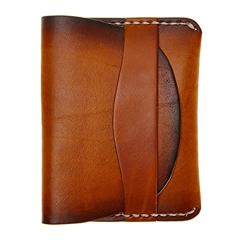 ZLYC Brush Out Color Vegetable Tanned Leather Wallet & Coin Purse - Unisex Slim Credit Card Holder Slim Wallet