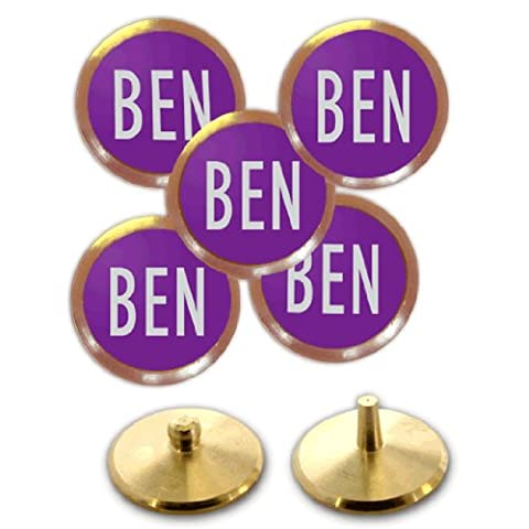 Personalised Golf Ball Markers (Silver on Purple)