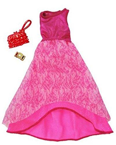 Original Mattel Barbie Mode, Kleider Set - inkl. Schuhe oder Accesoires (FCT37 Abendkleid rosa mit glänzendem Oberteil)