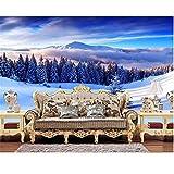 Rureng Benutzerdefinierte Wandbild Tapete Wohnzimmer 3D Foto Tapete Winter Schnee Wald Landschaft Foto Sofa Tv Hintergrund Vliestapete-200X140Cm