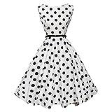 50er Vintage Kleider, Loveso ❤️ Damen Vintage Polka Dots A-linie Ohne Arm Rockabilly Kleid Cocktailkleider Swing Kleider 1950er Retro Sommerkleid (Weiß Z❤️, L)