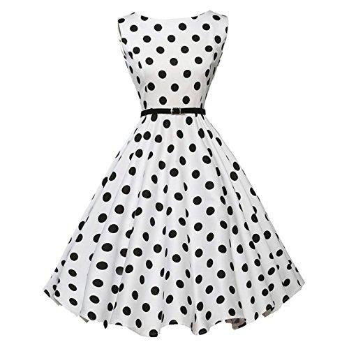 50er Vintage Kleider, Loveso ❤️ Damen Vintage Polka Dots A-Linie Ohne Arm Rockabilly Kleid Cocktailkleider Swing Kleider 1950er Retro Sommerkleid (Weiß Z❤️, S)