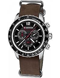 Wenger Unisex-Armbanduhr 01.0853.106 ROADSTER BLACK NIGHT CHRONO Analog Quarz Leder 01.0853.106 ROADSTER BLACK NIGHT CHRONO