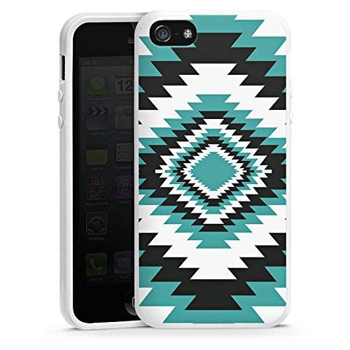 Apple iPhone 5 Housse Outdoor Étui militaire Coque Ethnique Aztèques Zig-zag Housse en silicone blanc