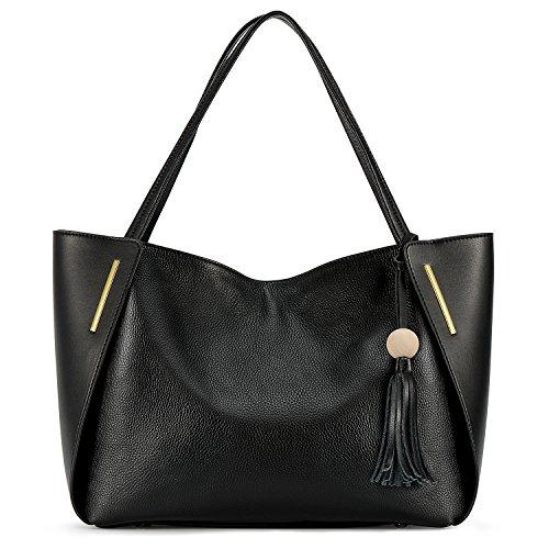 Kattee Leder Handtasche Damen Top Handgriff Quaste Design Umhängetasche für Office Lady(Schwarz) -