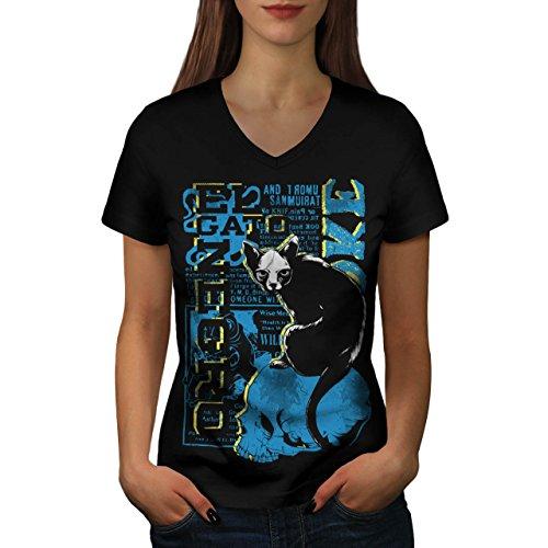 Gato Neger- Gruselig Katze Hexe Haustier Damen XL V-Ausschnitt T-shirt | Wellcoda