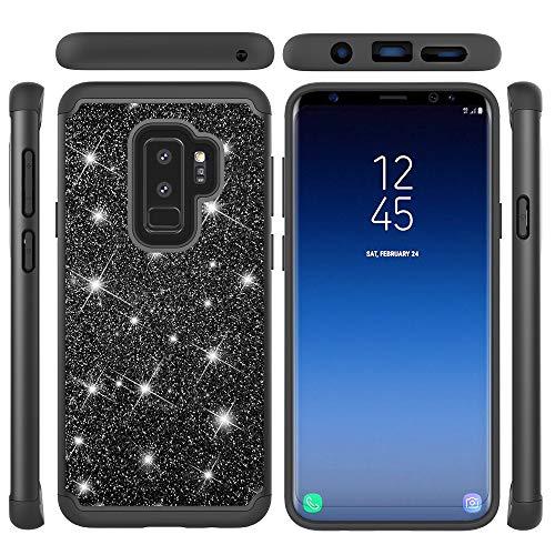 Flymaff Kompatibel für Galaxy S9 Plus Hülle + Displayschutzfolie 2 in 1 Bling Glitzer Glitzer Glitzer Glänzend Case Weiche TPU Bumper Hard PC Schutzhülle für Samsung Galaxy S9 Plus