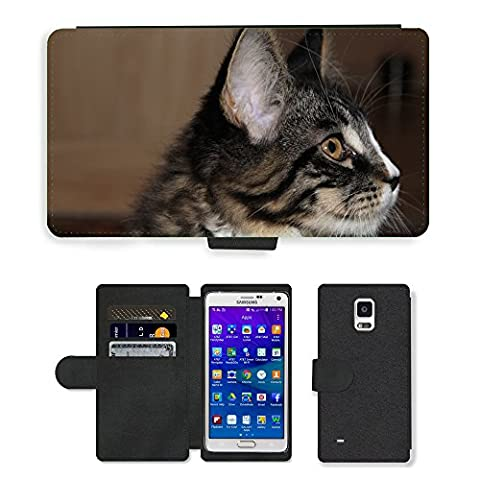 GoGoMobile PU Leather Flip Custodia Protettiva Case Cover per // M00124374 Cat animal jeune chat espiègle Curieux // Samsung Galaxy Note 4 IV