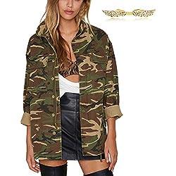 BYD Abrigos para Mujer Retro Chaquetas Estilo Militar Camuflaje Abrigo Jacket Denim Tops Outerwear
