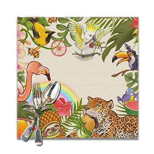 Smash Toucan Rainbows Tropical ForestsDecorative Polyester Tischsets Set of 6 Printed Square Plate Cushion Kitchen Table Heat-Resistant Washable Dining Room Family Children -