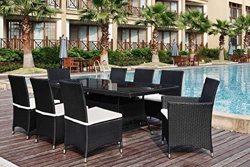 Au jardin de Chloé - Ensemble Repas Amaryllis en RÉSINE TRESSÉE Noir - 8 Places avec 8 Coussins assises Blanc + Plateau 2 mètres