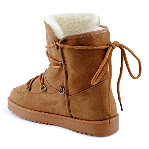 Damen Schnür Winter Stiefel Stiefeletten Velours-Optik Kunstfell Warm Gefüttert Snow Boots Schuhe Kamel