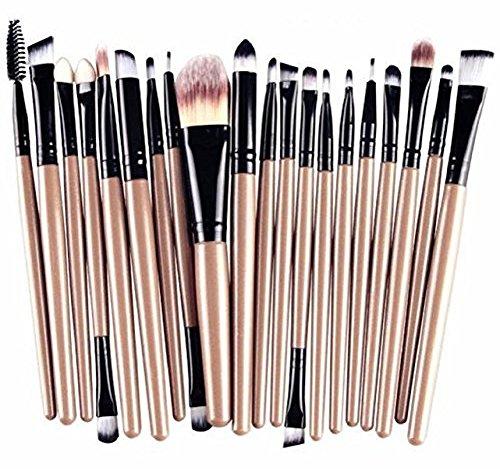Leisial 20PCS kit de Pinceaux de maquillage de Professionnel pour les yeux Brosse de Maquillage(Or noir)