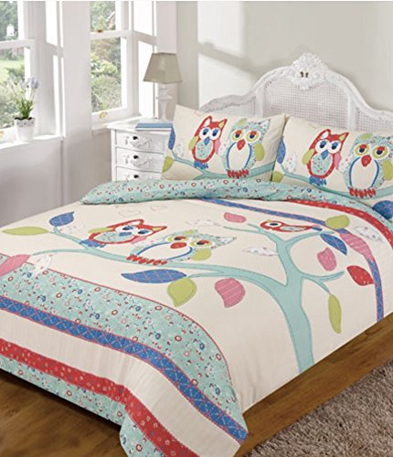 Easy Care Cute Owl Design Single Bed Duvet Cover Set (cream, multi)