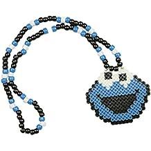 Collar Kandi de Monstruo de Galletas (Cookie Monster), collar rave, collar de cuentas, collar para halloween festivales musicales y fiestas