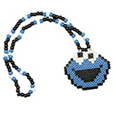 Collar Kandi de Monstruo de Galletas (Cookie Monster), collar rave, collar de cuentas, collar para halloween festivales musicales y fiestas