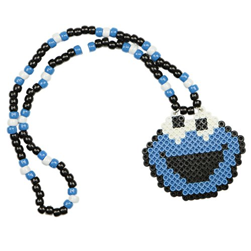 Cookie Monster Kandi Necklace, rave necklace, beaded necklace, bead necklace halloween costume for music festival outfits