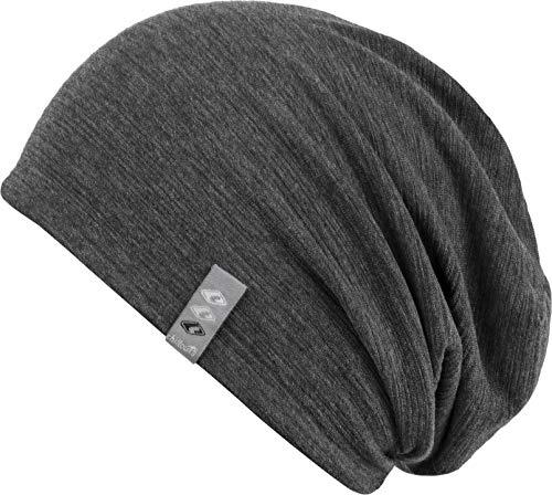 Feinzwirn leichte Beanie Mütze in modernen Mustern und Farben - Leed (Darkgrey)