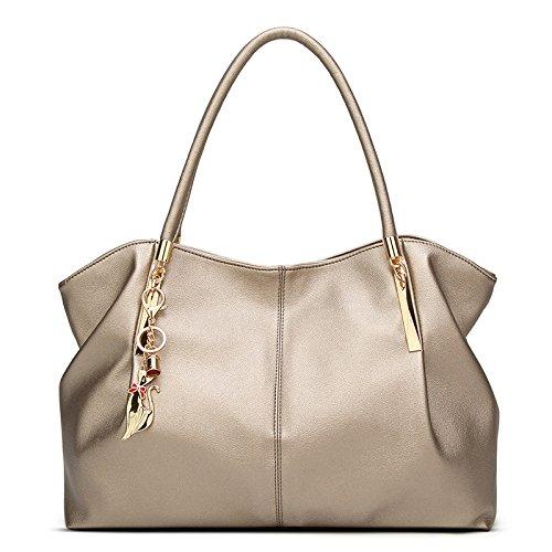 Weiches Italienisches Rindsleder (LAIDAYE Qualität Women's Bag Weiche Große Kapazität Umhängetasche Einfache Mode Handtasche Messenger Bag PU Ledertasche Aufgerüstet,Gold-OneSize)